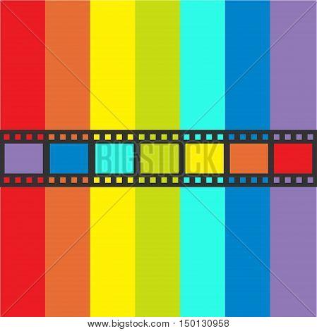 Rainbow flag Film strip frame. Straight shape ribbon. Design element. White background. LGBT Gay movie cinema sign symbol. Flat. Vector illustration