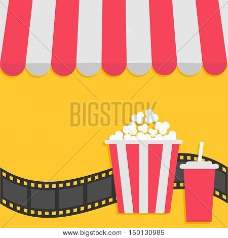 Popcorn and soda with straw. Film strip. Cinema icon. Striped store awning for shop marketplace cafe restaurant. Red white canopy roof. Flat design. Yellow background. Isolated. Vector illustration