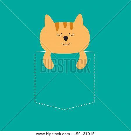 Cat sleeping in the pocket. Cute cartoon character. Orange kitten sleep kitty. Dash line. Pet animal collection. T-shirt design. Blue background. Isolated. Flat Vector illustration