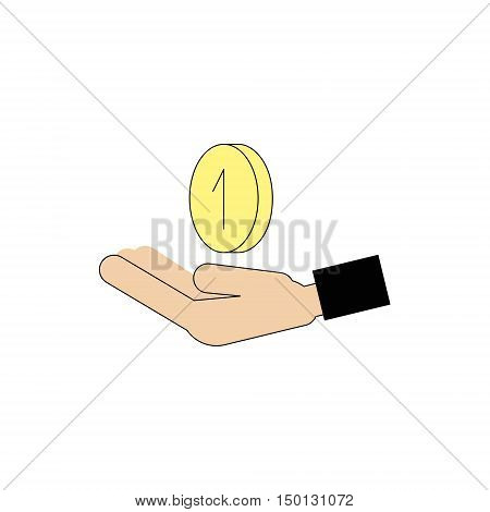 Icon human hand holding a coin. Vector Linear flat