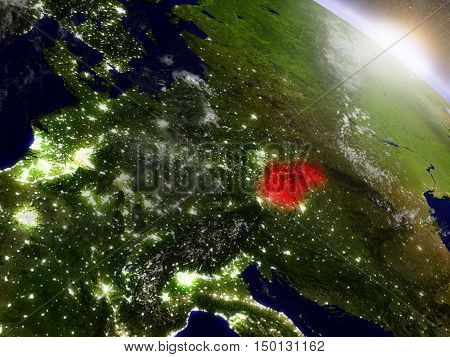 Slovakia From Space Highlighted In Red