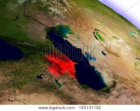 Azerbaijan From Space Highlighted In Red