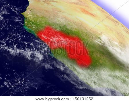 Guinea From Space Highlighted In Red