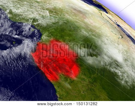 Gabon From Space Highlighted In Red