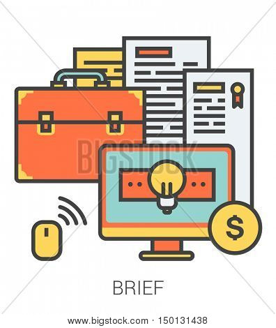 Brief infographic metaphor with line icons. Project brief concept for website and infographics. Vector line art icon isolated on white background.
