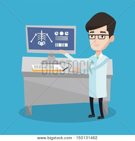 Doctor in medical gown examining a radiograph. Doctor looking at a chest radiograph on computer screen. Doctor observing a skeleton radiograph. Vector flat design illustration. Square layout.