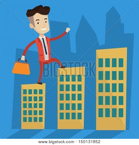 Joyful businessman walking on the roofs of city buildings. Confident businessman walking on the roofs of skyscrapers. Businessman walking to the success. Vector flat design illustration. Square layout
