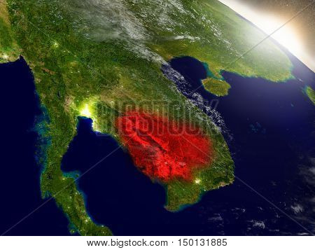 Cambodia From Space Highlighted In Red