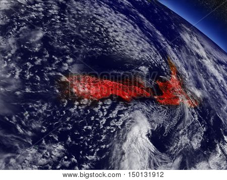New Zealand From Space Highlighted In Red