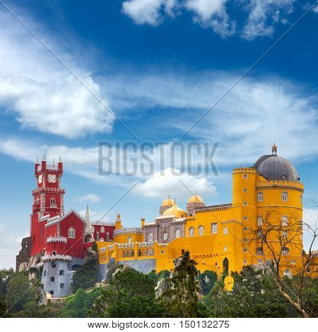 Aerial view of famous Palace of  Pena and blue sky - Sintra, Lisboa, Portugal