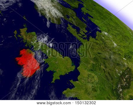 Ireland From Space Highlighted In Red