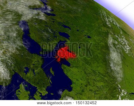 Estonia From Space Highlighted In Red
