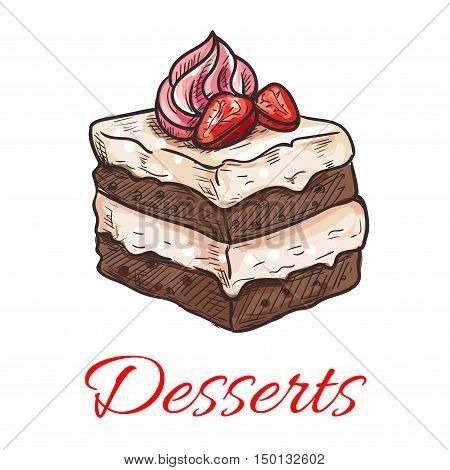 Sketched chocolate cake icon of sweet tiered dessert with vanilla cream and fresh strawberry fruit on the top. Pastry shop, cafe, chocolate dessert menu design