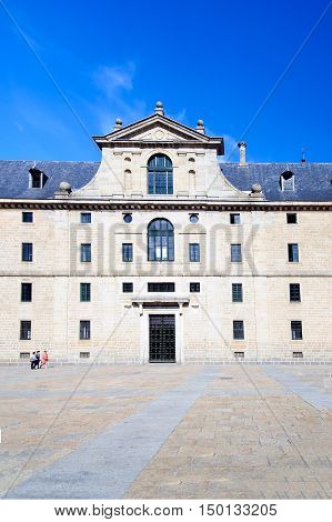 San Lorenzo del Escorial monastery, streets and famous places in El Escorial, Madrid, Spain