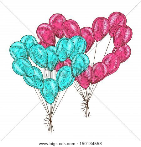 Balloons on white background. Vector sketch for greeting cards heart shaped. Red and blue bunch of isolated balloons. Doodle hand drawn design. Retro vintage style. Vector illustration