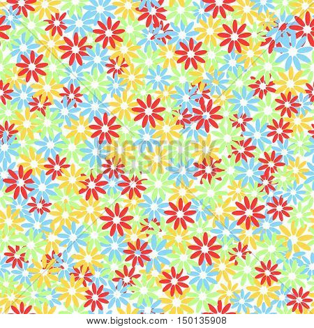Seamless Colorful Floral Pattern. Chaotic  .vektor