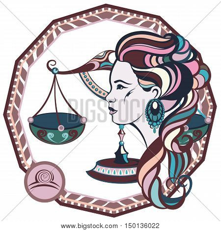 Zodiac signs Libra. Vector illustration of the girl.