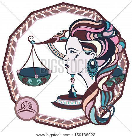 Zodiac signs Libra. Vector illustration of the girl.