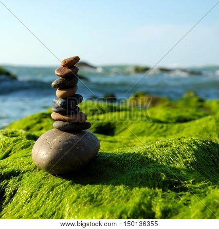 Stack Of Stones, Pebble Balance At Beach