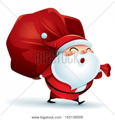 Santa Claus carrying sack full of gifts