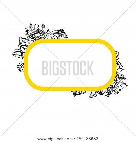 Rectangular frame with linden flowers. Black and white graphic vintage design. Template with linden flowers. Pattern in vintage style. Retro pattern. Drawing line sketch. Vector illustration.