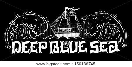 Deep Blue Sea. Hand Drawn Nautical Vintage Label With A Whale, Boat, Anchor, Lettering And Decoratio