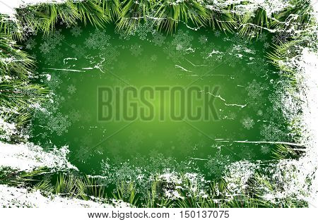 Christmas card with white snowflakes on green background, pine branch and icy texture. New Year invitation. Christmas party flyer template with copy space.