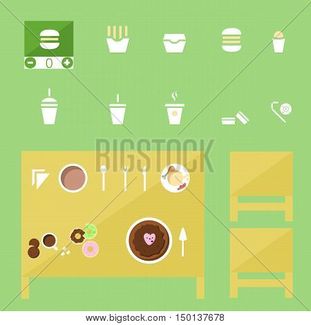 food Icons set, food Icon Vector on the table