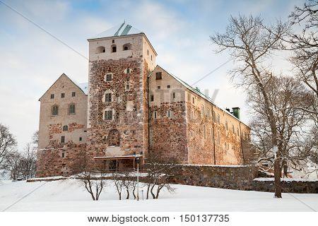 Facade Of Turku Castle In Winter