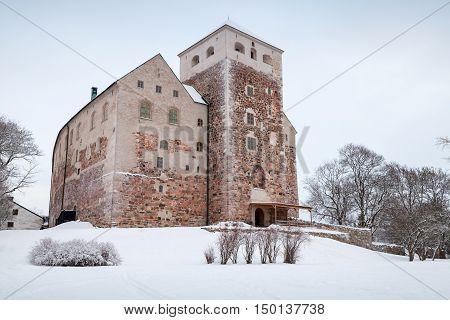 Turku Castle, Finland. Cold Winter Season
