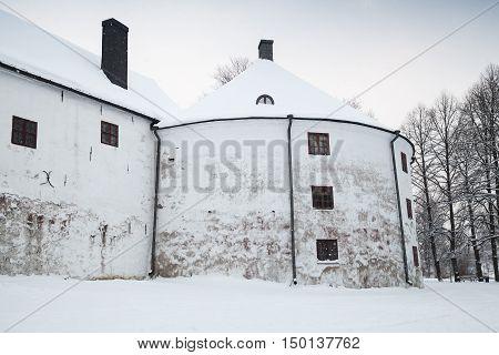 White Round Tower Facade Of Turku Castle Bailey