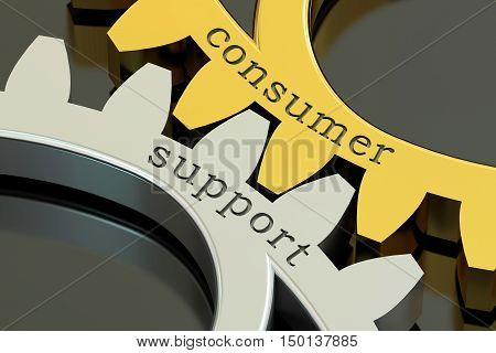 Consumer Support concept on the gearwheels 3D rendering