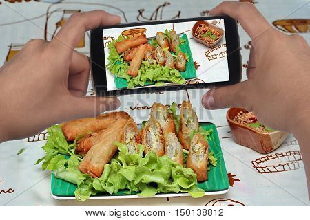 Take photo a dish of deep fried spring roll  as four sheet wrap  fried vermicelli and sliced cabbage in roll bar to deep fried call