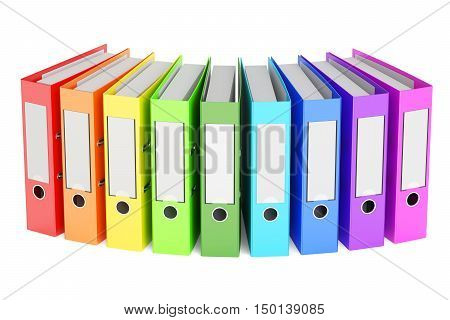 set of colored ring binders 3D rendering isolated on white background