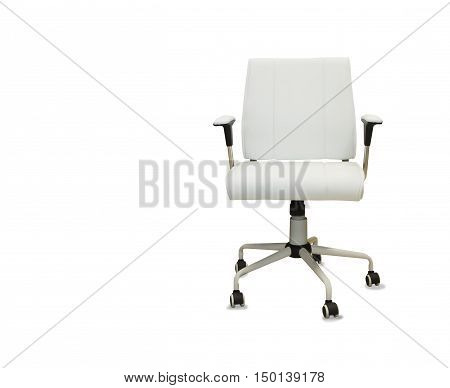Office chair from white leather isolated over white