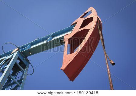 Work of oil pump jack on a oil field