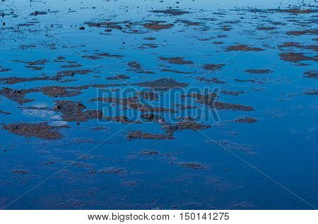 Rippled blue water of a shallow pond or river