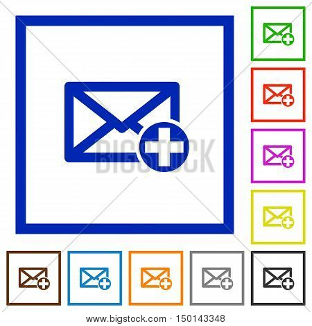 Set of color square framed Add new mail flat icons