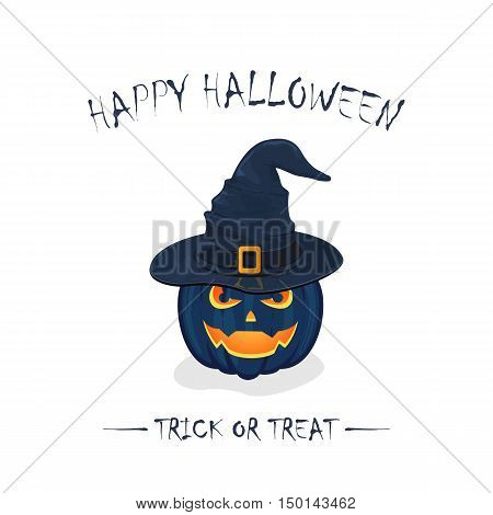 Halloween theme, pumpkin in black witch hat with golden buckle, isolated on white background, inscription Happy Halloween and trick or treat, illustration.