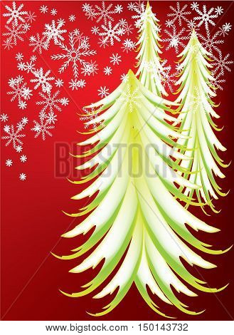 Green Christmas tress with falling snowflakes in the background