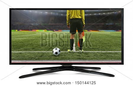 4k monitor isolated on white. The referee soccer game stands on the field before the game, ready to blow the whistle