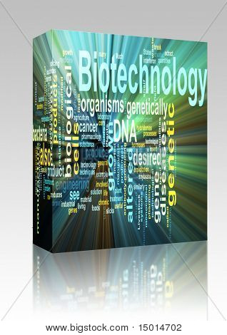 Software package box Word cloud concept illustration of  biotechnology research glowing light effect