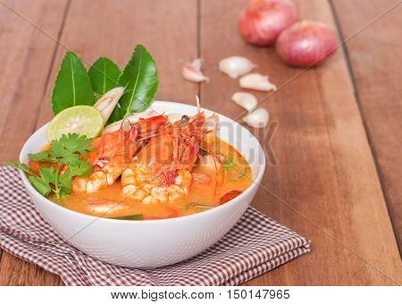 Tom Yam Kung and Ingredients Thai cuisine Thai food