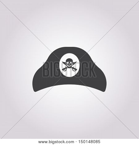 tricorn hat  icon on white background for web