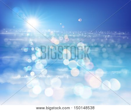 Rays of sunlight by the sea. Vector Illustration.