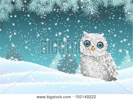 Christmas theme, cute white owl sitting in snow, in front of winter snowy forrest landscape, vector illustration, eps 10 with transparency