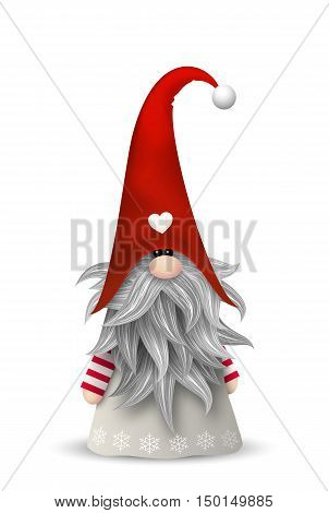 Nisser in Norway and Denmark, Tomtar in Sweden or Tonttu in Finnish, Scandinavian folklore elves, nordic christmas motive, isolated on white background, vector illustration, eps 10 with transparency
