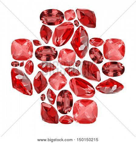 cross shape symbol from red ruby gems isolated on white background