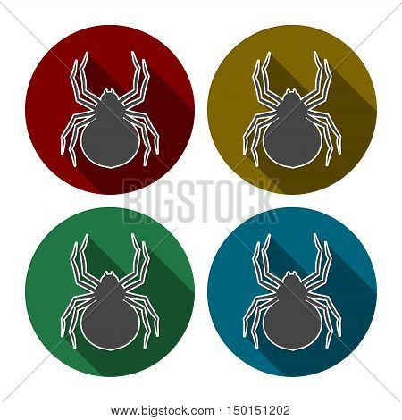 Set of silhouette spider icon with long shadow
