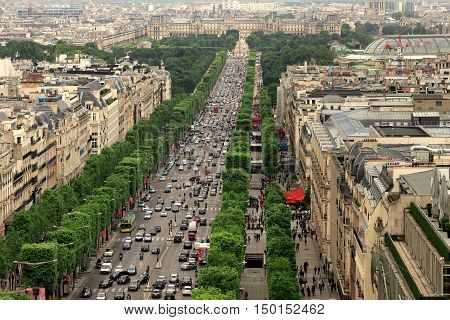 The a Champs Elysees in Paris France
